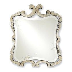 Kathy Kuo Home - Contemporary French Style Antique Square Mirror - The Sazerac creates a classic French Country effect, with a scrolled, yet aged mirrored frame, and an unassuming elegance and sophistication that make it a great fit for rooms inspired by le style provencal and beyond!
