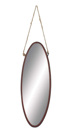 "Benzara - Geometric Shaped Metal Rope Wall Mirror, Modern Finesse - Geometric Shaped Metal Rope Wall Mirror in Modern Finesse. Flaunting a simple geometric shape, the metal Rope wall Mirror is sure to make a wonderful addition to casual home setups. It comes with a following dimensions 10"" W x 1"" D x 28"" H."
