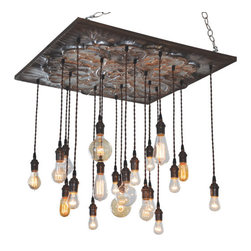 Industrial Lightworks - Vintage Industrial Tin Chandelier with Edison Pendants - Antiqued four panel tin chandelier with 20 Edison bulb varying pendants.