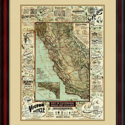 Amanti Art - George W. Blum 'Map of California Roads for Cyclers, 1896' Framed Art Print 24 x - Vintage maps are a classic accent that never goes out of style. Whether you are a map lover or wish to document and showcase where you have been (or would like to go), maps make a great addition to any space.