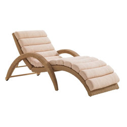 Lexington - Tommy Bahama Aviano Chaise Lounge - The serpentine shape and fluid motion makes this chaise irresistible to the eye and unmmatched in comfort. The inset casters on the back legs make for easy portability and the five level incline and channel cushion ensures comfort for every occupant.