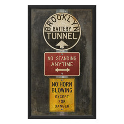 The Artwork Factory - 'Battery Tunnel' Print - Even if you live in the suburbs, you can still enjoy the charms of the city with an urban print of classic New York street signs. A 12-color pigment process gives this print a richness that will pop off your wall. Hang it in a high traffic area of your home for a playful touch.