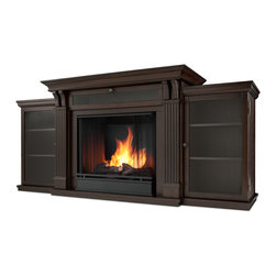Dark Walnut Ashley Gel Fuel Fireplace & Entertainment Unit - Based on a best selling favorite, the Ashley Entertainment Mantel features ample storage thanks to a drop down center glass door and dual side cabinets. Capable of safely supporting a television of 100 lbs. or less while adjustable shelving accommodate most electronics and other objects. The hand-painted log set and bright crackling flame add to the realistic look of this Real Flame Gel Fuel Fireplace. Uses 3 - 13oz. cans of Real Flame Gel Fuel. Available in Dark Walnut and Dark Espresso finishes.