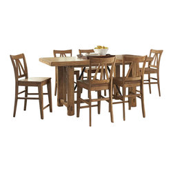 Riverside Furniture - Riverside Furniture Summerhill 8 Piece Dining Table Set in Rustic Pine - Riverside Furniture - Dining Sets - 9165491655Kit8PcDiningSet