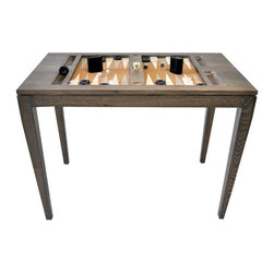 Backgammon Game Table - Light Driftwood with Gray and White Board and Lucite Top - This is not your father's backgammon table! Same game, different look. A great addition to your family gatherings or late night revelry. Available in 2 gorgeous driftwood finishes. It's a show-stopper, the conversation piece, and the ultimate home accessory. Lucite top- $225. Made in the U. S. A.