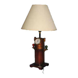"Binnacle Lamp w/ Clock - The binnacle lamp w/ clock measures 10"" x 15.75"". It features a binnacle with a clock at the top attached to a sturdy wood base. The lamp can take up to a 100 watt bulb but we recommend a 60 watt bulb just to be safe. It will add a definite nautical touch to wherever it is placed and is a must have for those who appreciate high quality nautical decor. It makes a great gift, impressive decoration and will be admired by all those who love the sea."