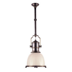 Chart House Country Industrial Pendant - Bronze finish yoke with white glass shade. Four screw heads look like feet along the circumference of the shade.