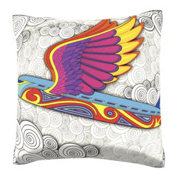 Custom Photo Factory - Colorful Bird Plane Pillow.  Polyester Velour Throw Pillow - Colorful Bird Plane Pillow. 18 Inches x 18  Inches.  Made in Los Angeles, CA, Set includes: One (1) pillow. Pattern: Full color dye sublimation art print. Cover closure: Concealed zipper. Cover materials: 100-percent polyester velour. Fill materials: Non-allergenic 100-percent polyester. Pillow shape: Square. Dimensions: 18.45 inches wide x 18.45 inches long. Care instructions: Machine washable