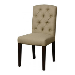 NPD (New Pacific Direct) Furniture - Philip Dining Chair (Set of 2) by NPD Furniture, Dark Tan - Philip dining chairs are beautiful with sturdy solid birch wood construction and cushioned seat and back. They are easy to assemble and will look great as side chairs in any dining room. Set includes 2 chairs. Fabric upholstery makes these chairs suit any interior. Soft and comfortable. Easy to assemble.