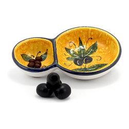 Artistica - Hand Made in Italy - Bucciato Olivo Uva: Olive Bowl (Double) - Bucciato: