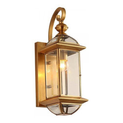 ParrotUncle - Antique Lantern Shaped Brass Wall Sconce - Add classic elegance to your home by installing this fantastic wall sconce in the entryways, patios or stairways in your home. This charming wall sconce resembles a lovely lantern, and is constructed of glass and brass, the shiny brass finish gives it a rich elegance, making it a stunning piece to showcase your great taste and classic sense of style.
