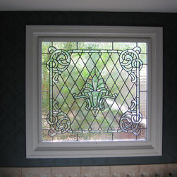 Leaded Glass - This Garden Tub WindowDbyD-8002, is in a custom home in Montgomery, Alabama.   It has beveled and textured glass to allow privacy