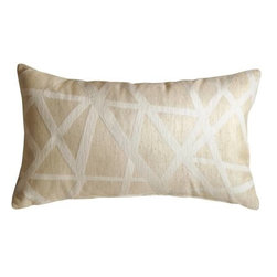 Pillow Decor - Pillow Decor - Criss Cross Stripes Cream Rectangular Throw Pillow - This contemporary rectangular criss cross pattern throw pillow in white and cream will add comfort and flair to your space. Made from a soft and durable upholstery fabric, the pillow features contrasting textures. The criss cross pattern is in soft chenille while the background texture has a smoother matt finish.