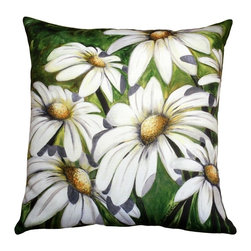 Pillow Decor - Pillow Decor - Daisy Patch 20 x 20 Throw Pillow - Bright and bold, the Daisy Patch 20 x 20 Throw Pillow will add a splash of summer to any room or outdoor living space. The back of the pillow features broad two-toned green stripes. The image is a reproduction from a Sandra Forzani original painting and is available exclusively through Pillow Decor.