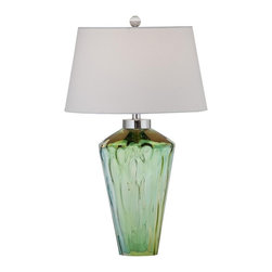 Bassett Mirror - Huntley Blue and Green and Clear Glass Table Lamp - Huntley Blue and Green and Clear Glass Table Lamp by Bassett Mirror