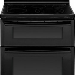 """GE - JB870DFBB 30"""" 6.6 cu. ft. Total Capacity Free-Standing Electric Double Oven Rang - The JB870XF comes with two ovens coming to a total of 66 cu ft capacity The top oven has a capacity of 22 cu ft while the lower oven has a total of 44 cu ft"""