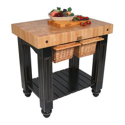 John Boos - Gathering Block II  36x24 Butcher Block Table, Basket Drawers - The mid-size version of John Boos' Gathering Block family features a 4-in. end-grain maple block. Table base and slatted shelf in 13 colors. Distressed finish.