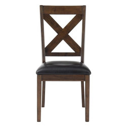 Jofran - Cirrus Oak Dining Chair With X-Shaped Lattice Back & Upholstered Seat, Set of 2 - This dining collection is the perfect solution for those who love to entertain. Simple, classic design features emphasize function and wont overpower your room, making this set a great choice with many different styles of decor. Accommodate extra guests at the extendable table, and be able to have the big family get together you've always wanted with the set of table and eight chairs. Store your dishes and serving platters in the matching server which comes with a removable wine rack for storing and displaying your various vintages.