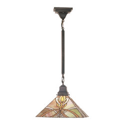 "Meyda Tiffany - Meyda Tiffany 24"" Glasgow Bungalow Pendant Light X-64194 - This Meyda Tiffany original pendant is inspired by theart and architecture of Charles Rennie Mackintosh andthe Glasgow school of art. Amber-Mauve and Gold stainedglass make up the intricate patterned shade that issuspended from Mission style hardware in a"