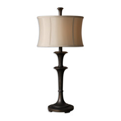 Uttermost - Brazoria Oil Rubbed Bronze Table Lamp - Perfect on an end table, console or desk, this small yet stately lamp has undeniable presence. Its rich, oil-rubbed bronze finish and pale gold shade make a classic addition to your traditional decor.