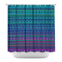 DiaNoche Designs - Shower Curtain Artistic - Summer Nights - DiaNoche Designs works with artists from around the world to bring unique, artistic products to decorate all aspects of your home.  Our designer Shower Curtains will be the talk of every guest to visit your bathroom!  Our Shower Curtains have Sewn reinforced holes for curtain rings, Shower Curtain Rings Not Included.  Dye Sublimation printing adheres the ink to the material for long life and durability. Machine Wash upon arrival for maximum softness on cold and dry low.  Printed in USA.
