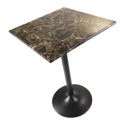 "Winsome Wood - Winsome Wood Cora Pub Table with Black Finish X-43467 - Cora Square Counter Height Table features stylish Faux Marble Top in Brown tones.  This table is chic and durable.  The marble laminate top adds to the timeless look to the table and black metal accent based gives it a sophisticated look.  Overall table dimension is 23.62""W x 23.62""D x 35.43""H.  Table top MDF Top with lamination.  Black finish metal leg and base. Easy Assembly."