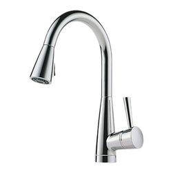 Brizo - Brizo 63070LF-PC Venuto Polished Chrome Kitchen Pulldown Faucet - The Brizo 63070LF-PC is a one handle kitchen pull-down faucet from Brizo's Venuto design suite featuring sleek, European inspired lines, and it comes in a Polished Chrome finish.