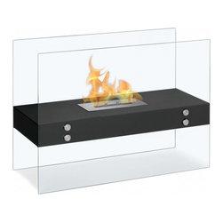 "Ignis - Vitrum H Freestanding Bio Ethanol Fireplace - Dimensions: 31.5"" x 23.5"" x 12""."