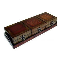 Cheung's - Wooden Triple Box Set w Tray in Brown - This wooden triple box treasure chest is absolutely unusual piece with a tray in addition. It's brown tone finish boost the beauty of the set. Ideal to store all your expensive things. 11.41 in. L x 15.35 in. W x 10.63 in. H (2.25 lbs.)