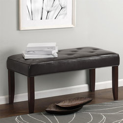 dorel asia - Tufted Bench - This Tufted Bench is the perfect seating solution for your home. Its warm espresso faux leather upholstery is durable whereas the nicely padded bench surface makes it a comfortable spot to sit and relax.