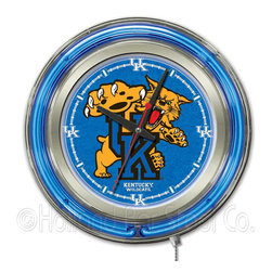 """Holland Bar Stool - Holland Bar Stool Clk15UKYCat Kentucky """"Wildcat"""" Neon Clock - Clk15UKYCat Kentucky """"Wildcat"""" Neon Clock belongs to College Collection by Holland Bar Stool Our neon-accented Logo Clocks are the perfect way to show your school pride. Chrome casing and a team specific neon ring accent a custom printed clock face, lit up by an brilliant white, inner neon ring. Neon ring is easily turned on and off with a pull chain on the bottom of the clock, saving you the hassle of plugging it in and unplugging it. Accurate quartz movement is powered by a single, AA battery (not included). Whether purchasing as a gift for a recent grad, sports superfan, or for yourself, you can take satisfaction knowing you're buying a clock that is proudly made by the Holland Bar Stool Company, Holland, MI. Clock (1)"""