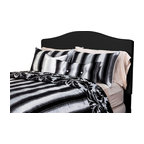 SIS Covers - SIS Covers Tinseltown Duvet Set - 6 Piece King Duvet Set - 5 Piece Twin Duvet Set Duvet 67x88, 1 Std Sham 26x20, 1 16x16 dec pillow, 1 26x14 dec pillow. 6 Piece Full Duvet Set Duvet 86x88, 2 Std Shams 26x20, 1 16x16 dec pillow, 1 26x14 dec pillow. 6 Piece Queen Duvet Set Duvet 94x98, 2 Qn Shams 30x20, 1 16x16 dec pillow, 1 26x14 dec pillow. 6 Piece California King Duvet Set Duvet 104x100, 2 Kg Shams 36x20, 1 16x16 dec pillow, 1 26x14 dec pillow6 Piece King Duvet Set Duvet 104x98, 2 Kg Shams 36x20, 1 16x16 dec pillow, 1 26x14 dec pillow. Fabric Content 1 60 Polyester 40 Rayon, Fabric Content 2 60 Polyester 40 Rayon, Fabric Content 3 60 Polyester 40 Cotton. Guarantee Workmanship and materials for the life of the product. SIScovers cannot be responsible for normal fabric wear, sun damage, or damage caused by misuse. Care instructions Dry Clean Only. Features Reversible Duvet and Shams