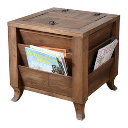 Uttermost - Uttermost Rimmon Wooden Side Table - Rimmon Wooden Side Table by Uttermost Made Of Reclaimed Fir Wood That Has Been Sun Faded And Weathered Over Time, This Storage Cube Creates Order With Magazine Slots Around The Outside And Concealed Space Inside. Top Opens With A Metal Ring Pull And Safety Hinge.