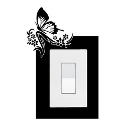 StickONmania - Lightswitch Butterfly Motif #9 Sticker - A vinyl sticker decal to decorate a lightswitch.  Decorate your home with original vinyl decals made to order in our shop located in the USA. We only use the best equipment and materials to guarantee the everlasting quality of each vinyl sticker. Our original wall art design stickers are easy to apply on most flat surfaces, including slightly textured walls, windows, mirrors, or any smooth surface. Some wall decals may come in multiple pieces due to the size of the design, different sizes of most of our vinyl stickers are available, please message us for a quote. Interior wall decor stickers come with a MATTE finish that is easier to remove from painted surfaces but Exterior stickers for cars,  bathrooms and refrigerators come with a stickier GLOSSY finish that can also be used for exterior purposes. We DO NOT recommend using glossy finish stickers on walls. All of our Vinyl wall decals are removable but not re-positionable, simply peel and stick, no glue or chemicals needed. Our decals always come with instructions and if you order from Houzz we will always add a small thank you gift.