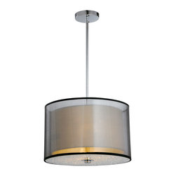 "IFN Modern - Penter Double Shade Pendant - The light consists of a two tier shade consisting of an organza outer shade and an inner shade finished in a white linen. The metal is finished in a stunning brushed nickel. â— Metal, Organza, Crystalâ— Chrome Finishâ— Incandescent 60 Watt Bulb (Not Included)â— 2lbsâ— 110 Voltsâ— 47"" Cordâ— Shade Diameter - 8"""