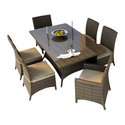 Forever Patio - Hampton 7 Piece Modern Outdoor Dining Set, Heather Wicker and Beige Cushions - The Forever Patio Hampton 7 Piece Outdoor Rattan Dining Set with Cream Sunbrella cushions (SKU FP-HAM-7DN-HT-AC) creates the perfect contemporary look for dining on your patio or deck. The set seats 6 adults comfortably, and includes 4 dining side chairs, 2 dining armchairs and a dining table with a glass top. This set features Heather resin wicker, which is made from High-Density Polyethylene (HDPE) for outdoor use. Each strand of this outdoor wicker is infused with its natural color and UV-inhibitors that prevent cracking, chipping and fading ordinarily caused by sunlight, surpassing the quality of natural rattan. This modern outdoor dining set is supported by thick-gauged, powder-coated aluminum frames that make it extremely durable. Also included are fade- and mildew-resistant Sunbrella cushions. You will love spending more time outdoors with this personalized, modern-looking wicker patio dining set.