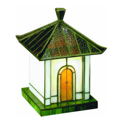 "Lite Source - Lite Source LN-1638 Asian Themed Specialty Lamp from the Pagoda Collection - Accent Table LampInspired by Oriental antiquity, these four miniature houses will bring a taste of the exotic to your room. Comes in Tiffany style stain glass with accent metalwork, these pieces will conveniently fit into even tight spaces.7W Incandescent B Type Bulb(Bulb Included)E-12 Socket (Candelabra)8.5""H x4""L x5""WOn/Off In-Line Cord Switch"