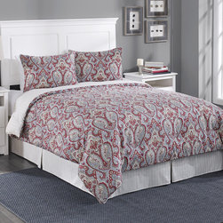 Laura Ashley - Laura Ashley Megan Paisley Grey 4-piece Reversible Comforter Set - An exotic red paisley pattern is displayed on a grey background to form this contemporary Megan comforter,bed skirt and sham set. Crafted with pure cotton for comfort,this bedding is fully machine washable for easy care.