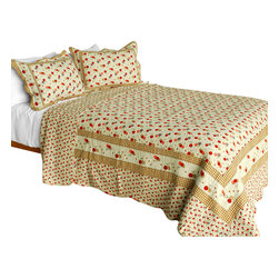 Blancho Bedding - [Astral] Cotton 3PC Vermicelli-Quilted Patchwork Quilt Set (Full/Queen Size) - Set includes a quilt and two quilted shams (one in twin set). Shell and fill are 100% cotton. For convenience, all bedding components are machine washable on cold in the gentle cycle and can be dried on low heat and will last you years. Intricate vermicelli quilting provides a rich surface texture. This vermicelli-quilted quilt set will refresh your bedroom decor instantly, create a cozy and inviting atmosphere and is sure to transform the look of your bedroom or guest room. Dimensions: Full/Queen quilt: 90 inches x 98 inches  Standard sham: 20 inches x 26 inches.