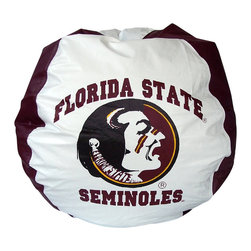 Bean Bag Boys - Bean Bag Boys Vinyl Bean Bag Chair in Florida State Seminoles - Pear-shaped design offers back support or rounded appearance as needed. Complies with voluntary CPSC guidelines for zipper closures. 100% recyclable product. Product is refillable proudly made in the U.S.A double-stitched with clear nylon for added strength.