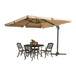 Great Deal Furniture - Adela Outdoor Cantilever Patio Umbrella & Base, Silver - The Adela Sun Canopy Umbrella is a perfect shade solution for you and your guests. Function and form go hand in hand with this durable piece, designed to give you all of the benefits of being outdoors at no cost to comfort. This canopy pivots easily to provide shade from any angle whether it be for your lounging or dining. A must have piece for those summer gatherings.