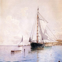 """Alfred Thompson Bricher Drying the Main at Anchor   Print - 16"""" x 24"""" Alfred Thompson Bricher Drying the Main at Anchor premium archival print reproduced to meet museum quality standards. Our museum quality archival prints are produced using high-precision print technology for a more accurate reproduction printed on high quality, heavyweight matte presentation paper with fade-resistant, archival inks. Our progressive business model allows us to offer works of art to you at the best wholesale pricing, significantly less than art gallery prices, affordable to all. This line of artwork is produced with extra white border space (if you choose to have it framed, for your framer to work with to frame properly or utilize a larger mat and/or frame).  We present a comprehensive collection of exceptional art reproductions byAlfred Thompson Bricher."""