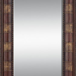 Woodland Imports - Classic Rectangle Wood Leather Mirror Beige Brown Decor - Classic modern rectangle wood and leather mirror with a pattern beige and brown finish living and dining room decor