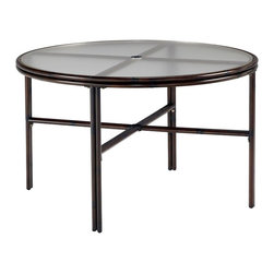 Home Styles - Home Styles Bimini Jim 48-Inch Round Dining Table in Dark Mocha Finish - Home Styles - Patio Dining Tables - 556632 - A unique take on bamboo style the Bimini Jim 48-Inch Round Outdoor Dining Table by Home Styles is constructed of extruded aluminum in a dark mocha finish.