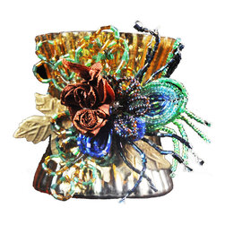 Votive Holder Peacock - Our lovely mercury glass votive holders are adorned with beautiful beaded clusters.