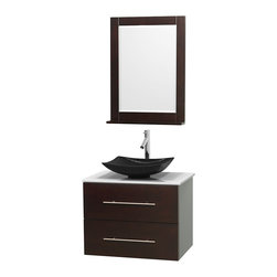 "Wyndham Collection - Centra 30"" Espresso Single Vanity, White Man-Made Stone Top, Black Granite Sink - Simplicity and elegance combine in the perfect lines of the Centra vanity by the Wyndham Collection. If cutting-edge contemporary design is your style then the Centra vanity is for you - modern, chic and built to last a lifetime. Available with green glass, pure white man-made stone, ivory marble or white carrera marble counters, with stunning vessel or undermount sink(s) and matching mirror(s). Featuring soft close door hinges, drawer glides, and meticulously finished with brushed chrome hardware. The attention to detail on this beautiful vanity is second to none."