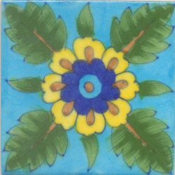 """Knobco - Tiles 4x4"""", Yellow, Blue, Turquoise Flower & Green leaf w/ Turquoise Base - Yellow, Blue, Turquoise Flower and Green leaf with Turquoise Base Tile from Jaipur, India. Unique, hand painted tiles for your kitchen or other tiling project. Tile is 4x4"""" in size."""