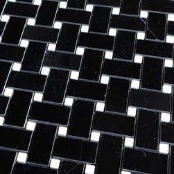 Premium Nero Marquina Basketweave Black Marble Tile - Premium Nero Marquina Basketweave Black Marble Mosaic Tile available online from TheBuilderDepot.com