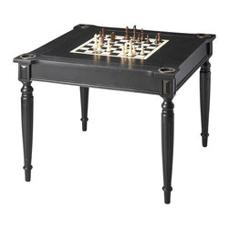 Butler Furniture - Multi-Game Card Table - Play a variety of games on this stylish table that is veneered with antique cherry finish. The top inset has a game board for chess and checkers. Flip the inset over and it converts to a green felt-lined blackjack table. Remove the insert altogether and the well(beneath the inset) is a back-gammon game board. This table comes with all game pieces, cups, dice and a deck of cards for playing chess, checkers, backgammon, blackjack/card games and cribbage. Four glass holders on each corner.