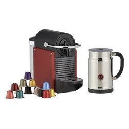 Nespresso® Pixie Carmine Bundle - Stylish and ultra-compact, the Nespresso Pixie has big features for brewing one perfect cup of espresso at a time. Fully automatic brewing works exclusively with Nespresso's premium coffee capsules (an assortment of 16 is included) for locked-in freshness and mess-free convenience. Select your cup and pour size for a single, double or triple shot, and even choose the brewing duration based on your preference. With its innovative Thermoblock technology, the Pixie heats in 25 to 30 seconds — faster than most single-cup models on the market, while the 19-bar pressure pump ensures maximum flavor extraction. Spent capsules are neatly ejected into an internal receptacle (holds up to 10). Removable water tank is easy to fill; folding drip tray accommodates larger travel mugs. The Pixie is joined by the Aeroccino Plus chrome frother: two whisk attachments prepare two servings of milk to transform your espresso into a cappuccino, macchiato or latte. Dual steam and froth features perform to perfection at the touch of a button; nonstick interior makes for easy cleanup. Calibrated pitcher lifts off base for convenience.